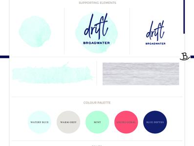 Drift Broadwater Brand Board logo design branding
