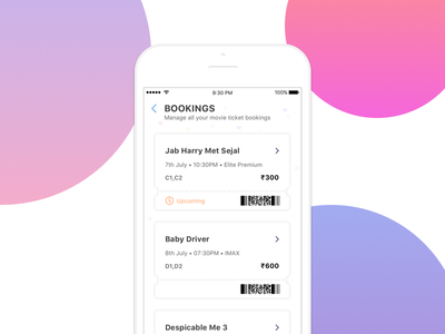 Movie Theatre - Manage ticket bookings theatre qr history booking movie mobile ios ux ui