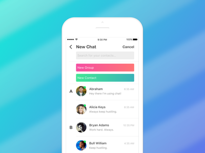 """""""New Chat"""" screen - Chat App contact im messenger whatsapp chat ios ux ui"""