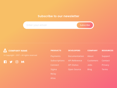 Newsletter Subscription and Footer - Gradients subscription newsletter gradient footer web ux ui