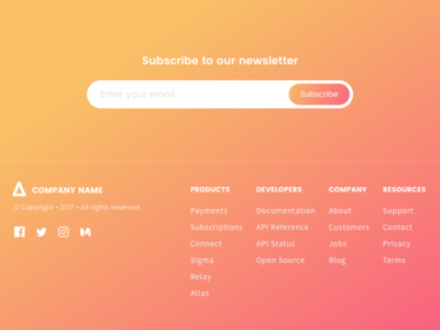 Newsletter Subscription and Footer - Gradients