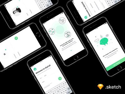 Voice Call App Onboarding Screens [ FREEBIE ] material vector flat design ux ui onboarding illustration ios