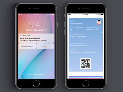 Location Aware Emergency Health App ios wallet wallet emergency health ios iphone ux ui