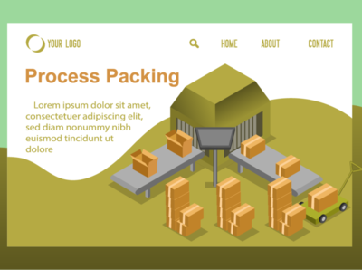 isometric pacing manufacturing for website landing page illustration web design shipping process robot 4.0 factory manufacturing carton box packing isometric page landing website