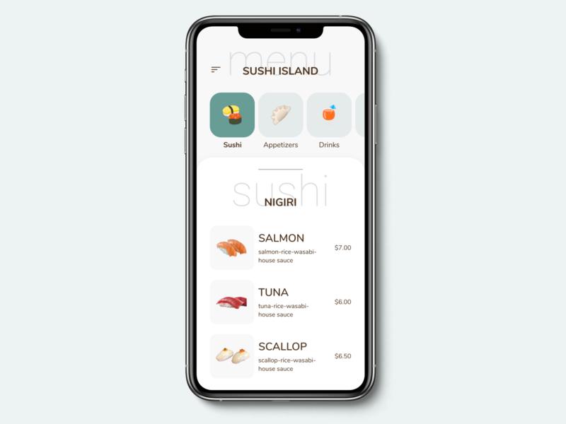 Daily UI 043 - Food Drink Menu food restaurant menu illustration dailyuichallenge daily ui app mobile app design dailyui ui mobile