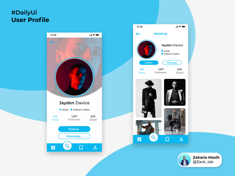 Design Challenge  — User profile user interface design app design dailychallenge interface profile page dailyui 006 social app ui design explore figma daily ui challenge app