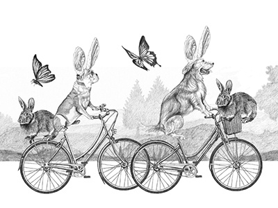 Illustration for Ralph Lauren's Spring Sale 2 butterflies easter rabbits bicycles spring ralph lauren marketing illustration graphite drawing dogs advertising