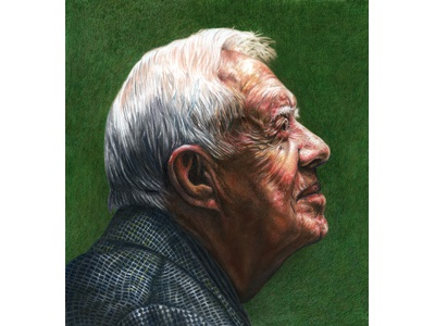 Jimmy Carter in ICON10 Detroit Gallery Show politics coloredpencils pastel illustration art portraits drawing jimmycarter