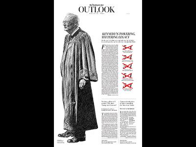 The Washington Post - Justice Kennedy politics portraits graphite drawing washingtonpost illustration justicekennedy kennedy