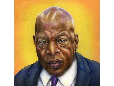 Rep. John Lewis portraits portrait politics pastel mixedmedia johnlewis illustration drawing coloredpencil color art