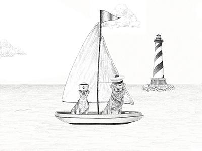 Ralph Lauren Summer Sale Illustration realism lighthouse summer boat graphite art drawing dogs illustration ralphlauren