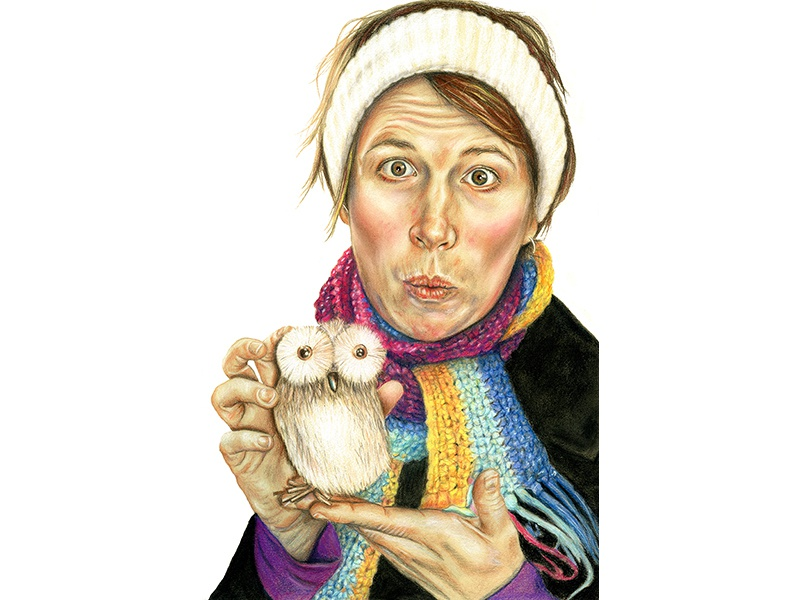 Caroline & The Owl illustration portrait illustration portrait art drawing owl pastel mixed media colored pencil portrait
