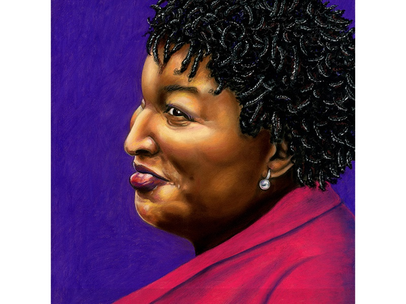 Stacey Abrams pastel politics georgia democrats stacey abrams art illustration art portrait art portraits illustration drawing