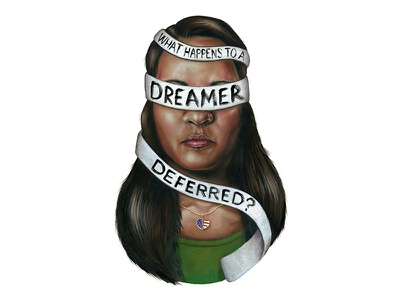 What Happens to a Dreamer Deferred? art drawing editorial art pastel illustration editorial illustration politics