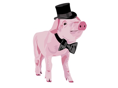 Fancy Pig ralph lauren color illustrator style drawing vector pig