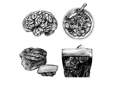 Men's Health Bulletin - April & May 2016 mens health realism graphite editorial illustration food illustration food illustration drawing art