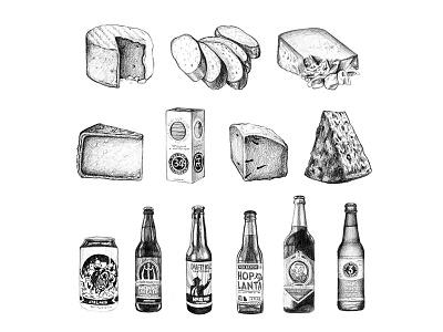 Atlanta Magazine - April 2016 editorial illustration art beer cheese food graphite drawing food illustration illustration