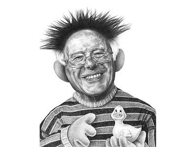 Ernie Sanders puns graphite illustration art portraits politics sanders2020 bernie sanders