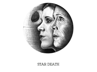Star Death scifi princess leia star wars carrie fisher portraits graphite drawing illustration art