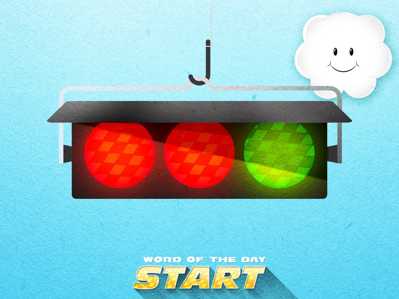 STARTING POINT vector illustration texture traffic lights word of the day lakitu traffic blue mario kart