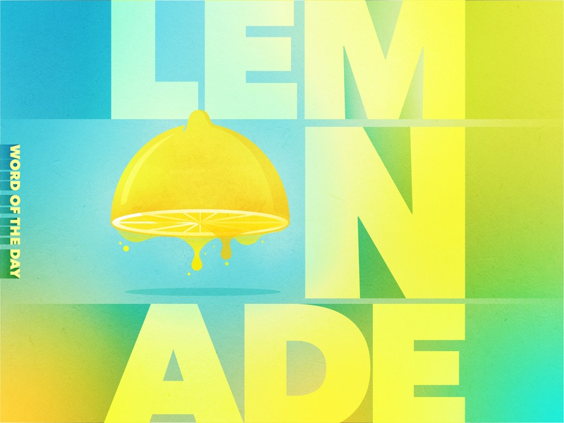 Sour Seconds duotone dripping word of the day texture gradient blue yellow lemon