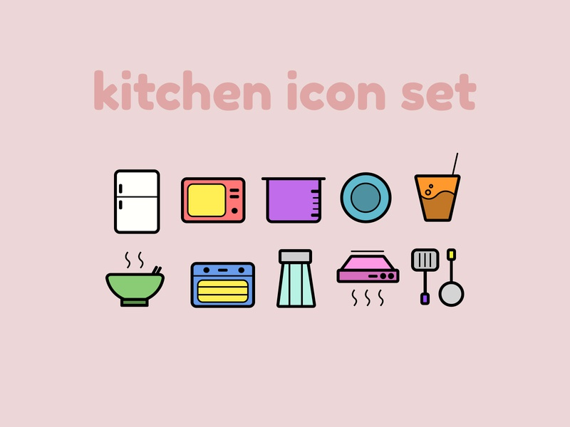 Kitchen Icon Set website minimal vector logo illustrator illustration icon flat design