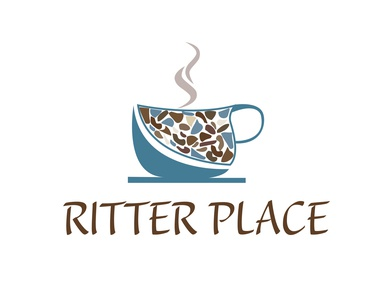 Ritter Place logo blue steam coffee cup coffeeshop coffee logo illustration flat design art