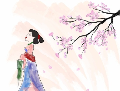"Watercolor illustration ""Mulan"" chinese mulan watercolor beautiful poster flat illustration design art"