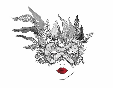 Zentangl Woman with mask banner ad zentangle banner beautiful poster flat illustration design art