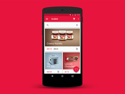 Grabbit app android supermarket material design wip product design