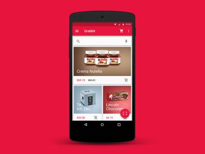 Grabbit app android supermarket material design wip product design
