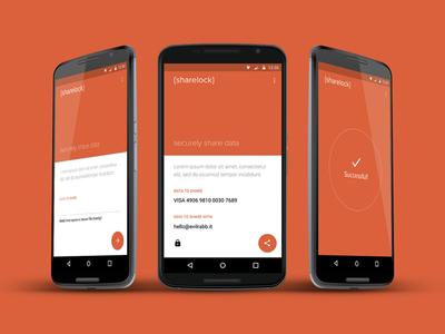 Sharelock web app wip data ui design ux design secure share material design