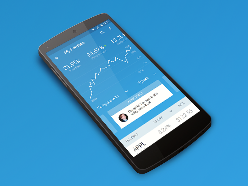 iBillionaire Android App ibillionaire index material design ux design ui design android stocks mobile index