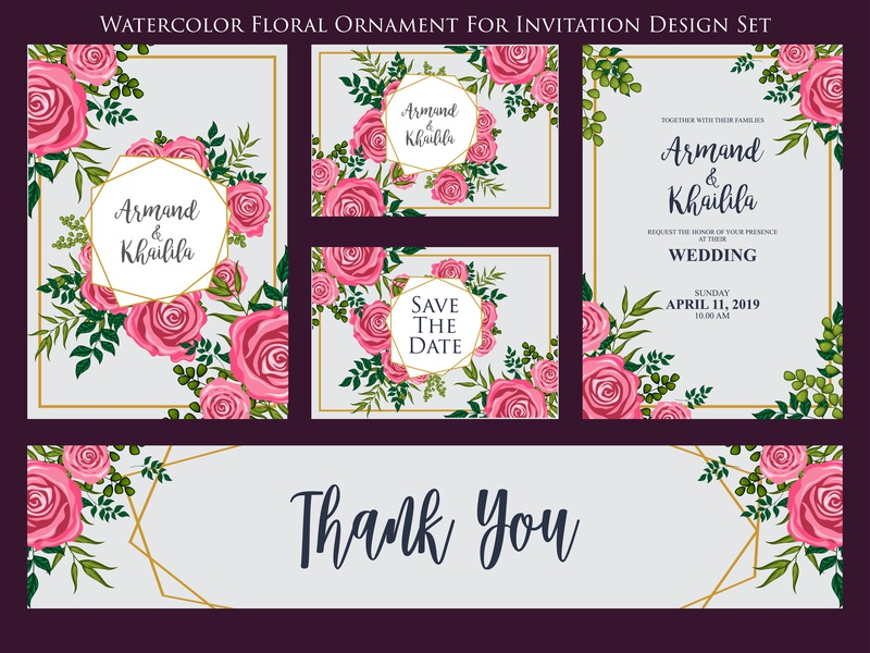 watercolor floral ornament for invitation and greeting card desi by