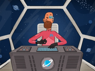 spaceman branding characterdesign character animation illustration