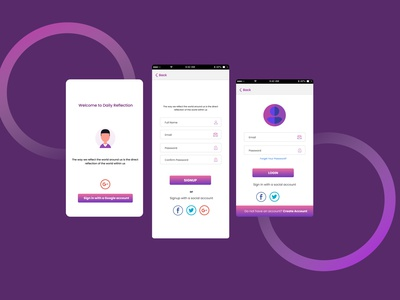 Login/Signup pages for Daily Reflection app. sign in signup ui design