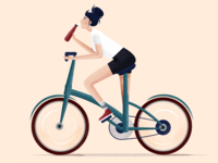 Riding bike girl bottle bicycle vectorart riding mountainview bike ipad illustration drawing designer design retro clean character art affinitydesignerapp