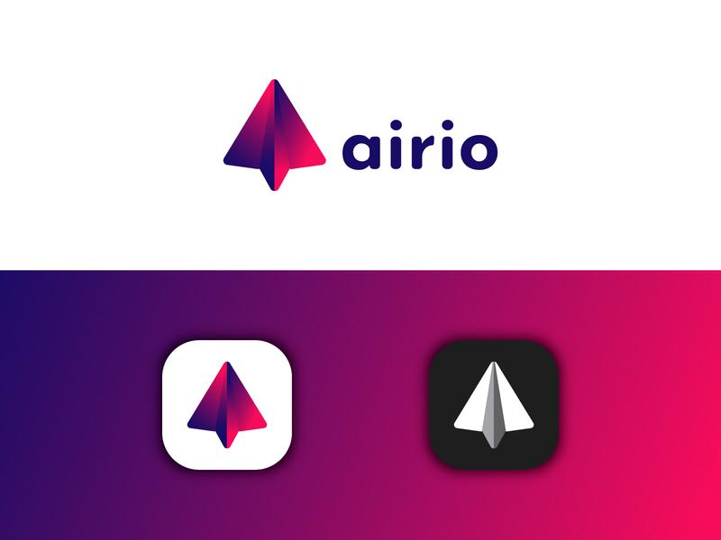 Airio Logo  - Daily Logo #26 paper airplane airplane application icon mobile app app flat logo adobe illustrator logo design branding design dailylogochallenge