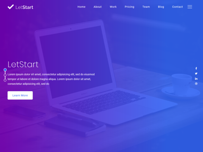 Letstart WB responsive app templates parallax scrolling multipurpose personal saas website product page ppc portfolio parallax website parallax one page landing pages bootstrap4