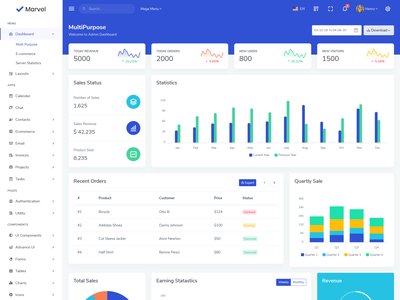 Marvel - Bootstrap Admin Theme back panel invoice email task server analytics ecommerce project product dashboard admin responsive multipurpose bootstrap4