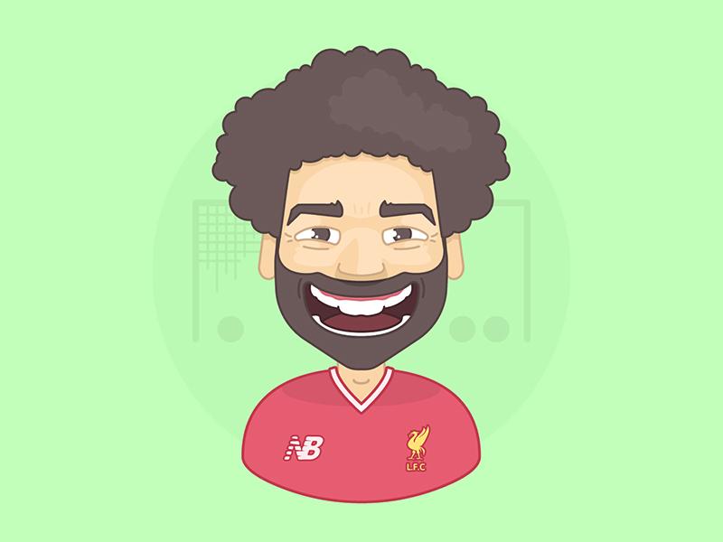 Salah vector flat adobe uefa liverpool premier league champions soccer football egypt illustration