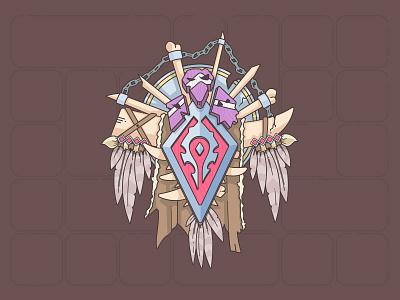 For The Horde illustrator orc game rpg horde wow warcraft crest fan art line vector illustration