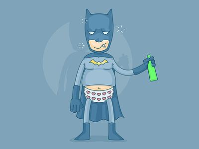 Batman Announces Retirement! drunk dark knight bruce wayne arkham hero vector illustration marvel dc comics batman