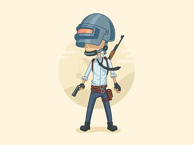 PUBG Character ak47 fan art gaming 2d vector character game battlegrounds illustrator illustration pubg