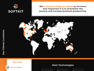 Software Company Website map black orange web ux ui logo branding illustration