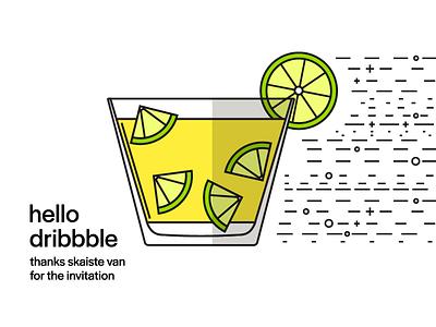 Hello Dribbble vector caipirinha cocktail hello dribble debut