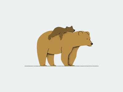 Mother bear with her cub child nature vector animal bear cute cub illustration
