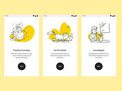 Onboarding mobile app design happy health black yellow illustraion onboarding mobile ui figmadesign figma design