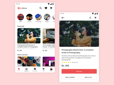 Udemy app redesign education union redesigned mobile app design branding figmadesign mobile ui ui mobile figma redesign concept edtech app redesign udemy