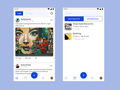 Social event managing app post blue 30daychallenge daily ui corporate social events uiux design ui mobile app design figma figmadesign day1